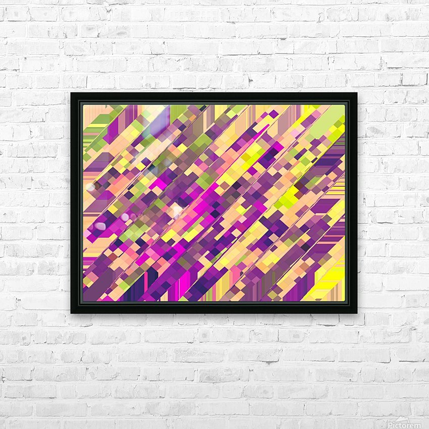 geometric square pixel pattern abstract background in pink purple green HD Sublimation Metal print with Decorating Float Frame (BOX)
