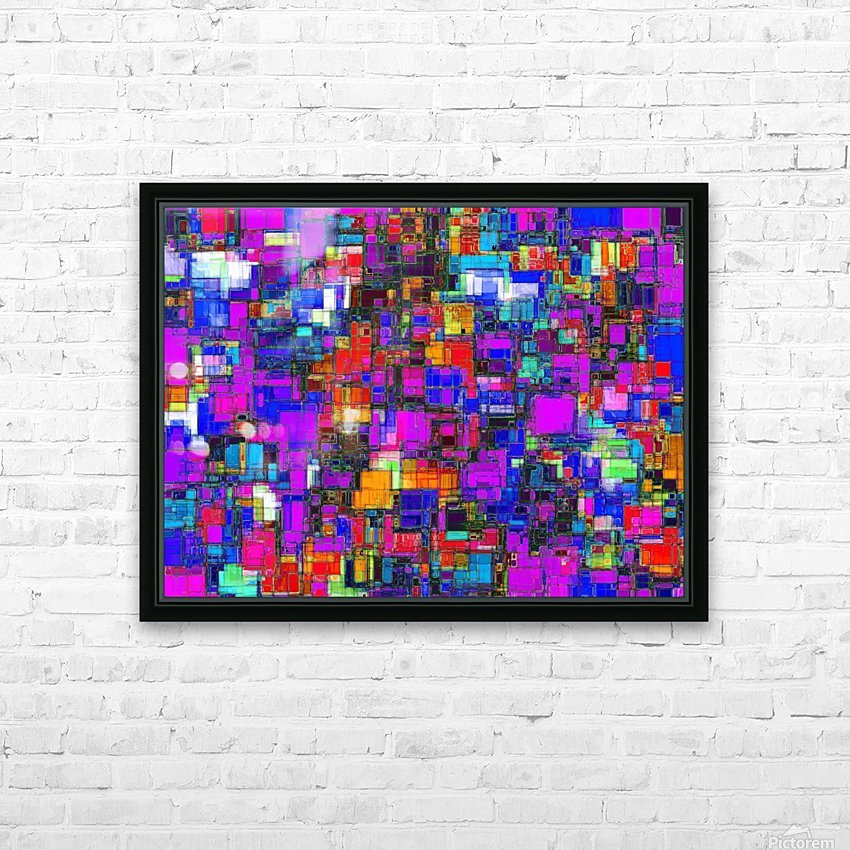 geometric square shape pattern abstract background in pink blue orange HD Sublimation Metal print with Decorating Float Frame (BOX)