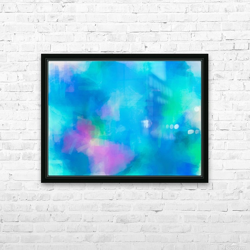 splash painting texture abstract background in blue and pink HD Sublimation Metal print with Decorating Float Frame (BOX)