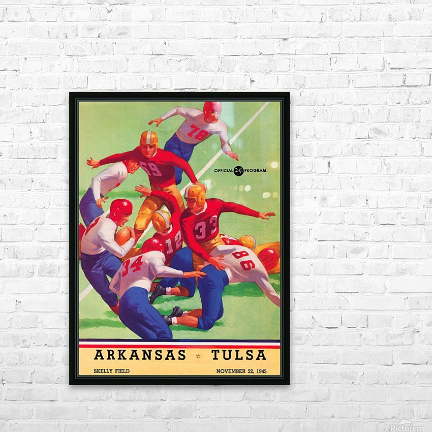 1945 university tulsa football program cover art HD Sublimation Metal print with Decorating Float Frame (BOX)