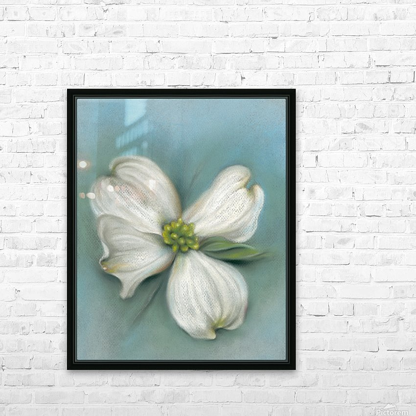 White Dogwood with Leaf HD Sublimation Metal print with Decorating Float Frame (BOX)