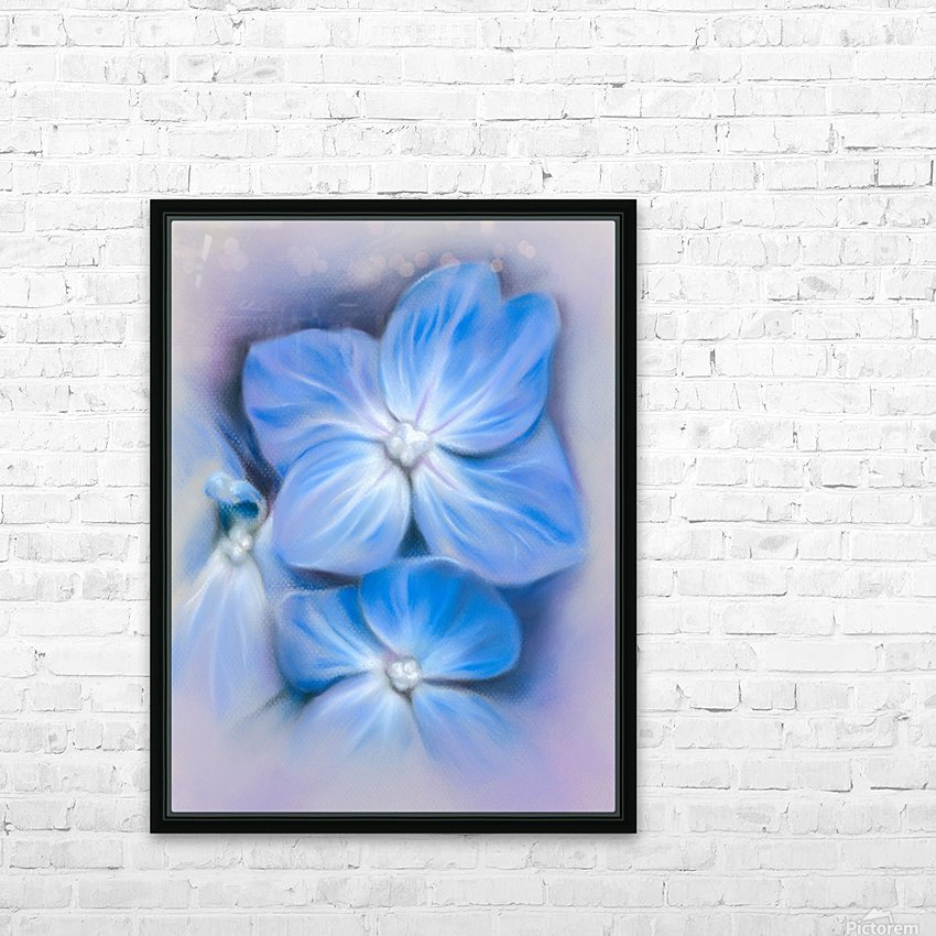 Blue Hydrangea Blossoms HD Sublimation Metal print with Decorating Float Frame (BOX)