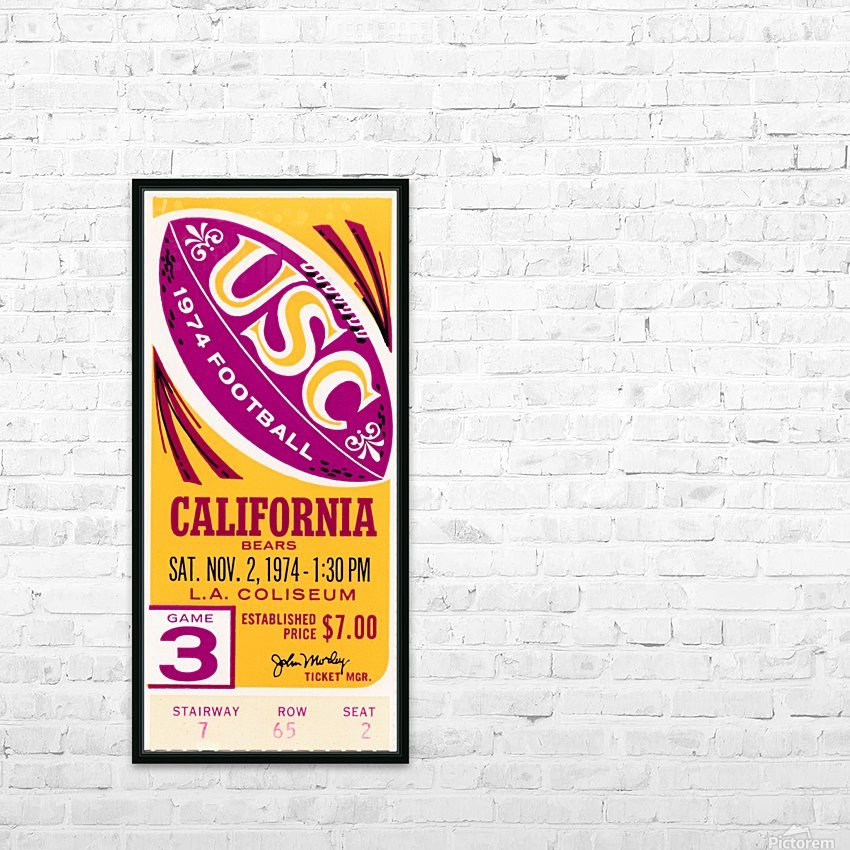 1974 usc california football ticket stub reproduction print HD Sublimation Metal print with Decorating Float Frame (BOX)