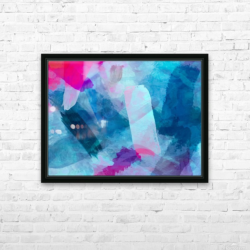 splash painting texture abstract background in blue pink HD Sublimation Metal print with Decorating Float Frame (BOX)