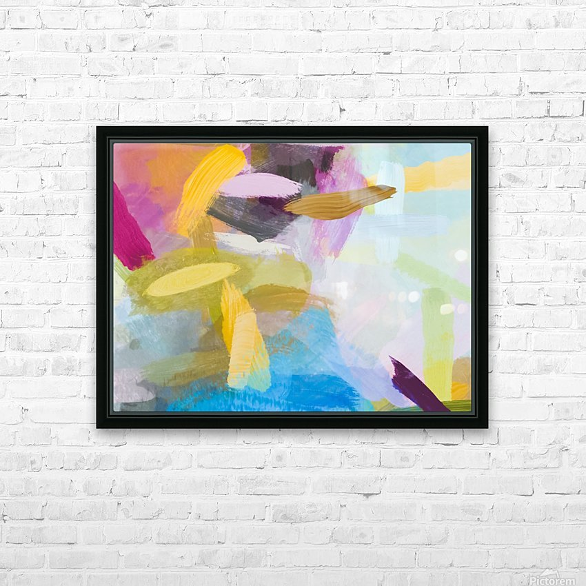 splash painting texture abstract background in yellow blue pink HD Sublimation Metal print with Decorating Float Frame (BOX)