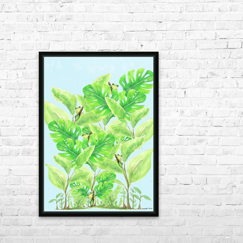 Frog Garden  HD Sublimation Metal print with Decorating Float Frame (BOX)