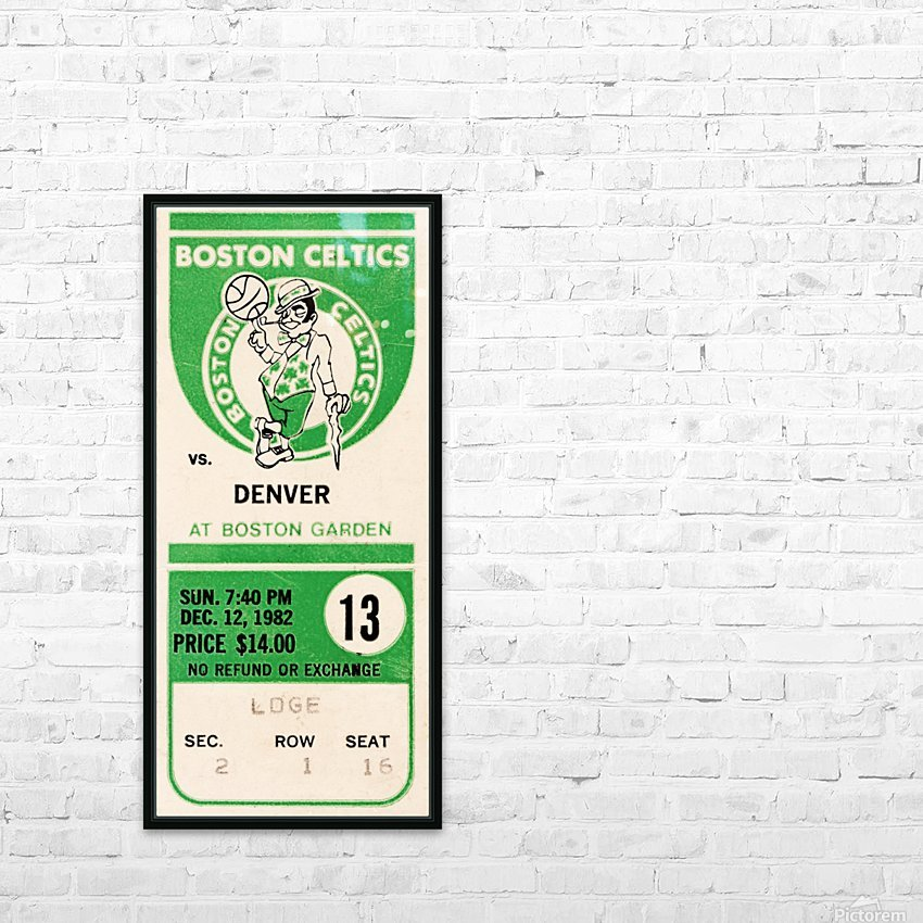 1982 boston celtics ticket stub art HD Sublimation Metal print with Decorating Float Frame (BOX)