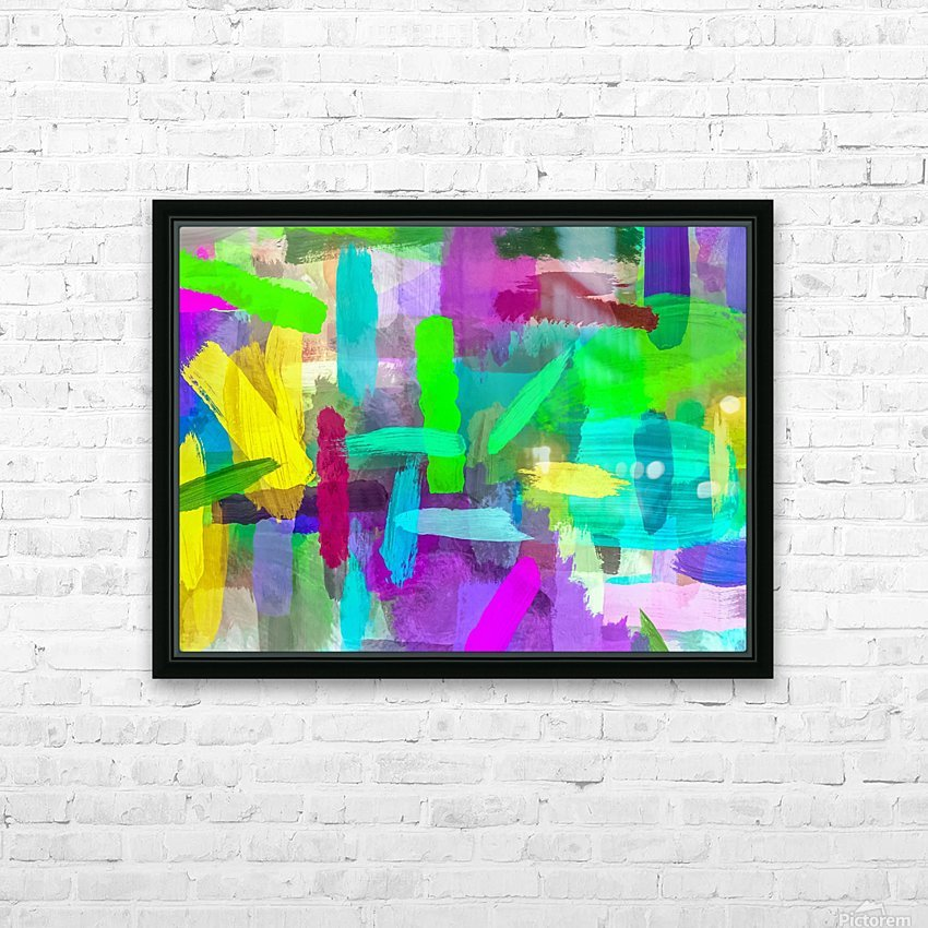 splash brush painting texture abstract background in green blue pink purple HD Sublimation Metal print with Decorating Float Frame (BOX)