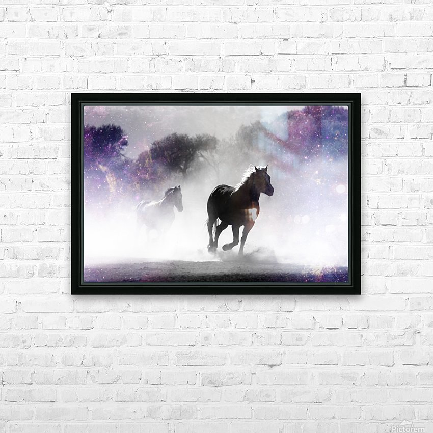 Wild Horses in Nature HD Sublimation Metal print with Decorating Float Frame (BOX)