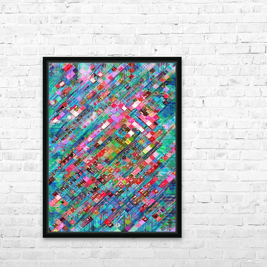 geometric square pixel pattern abstract background in blue pink HD Sublimation Metal print with Decorating Float Frame (BOX)