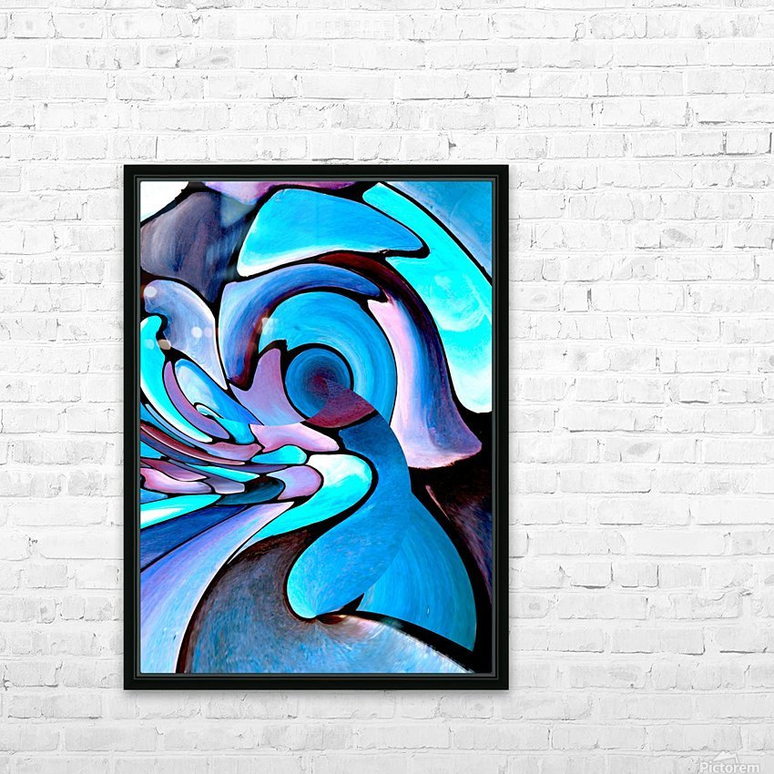 Twisted Splash of Blue Shapes  HD Sublimation Metal print with Decorating Float Frame (BOX)
