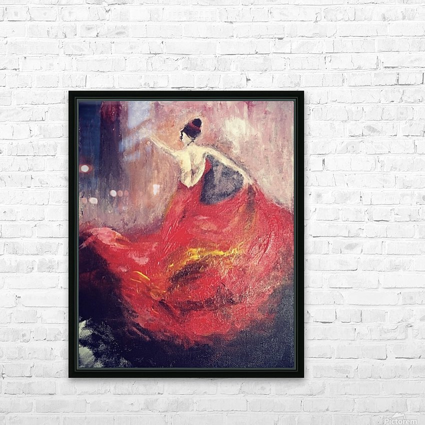 Dancer in Red  HD Sublimation Metal print with Decorating Float Frame (BOX)