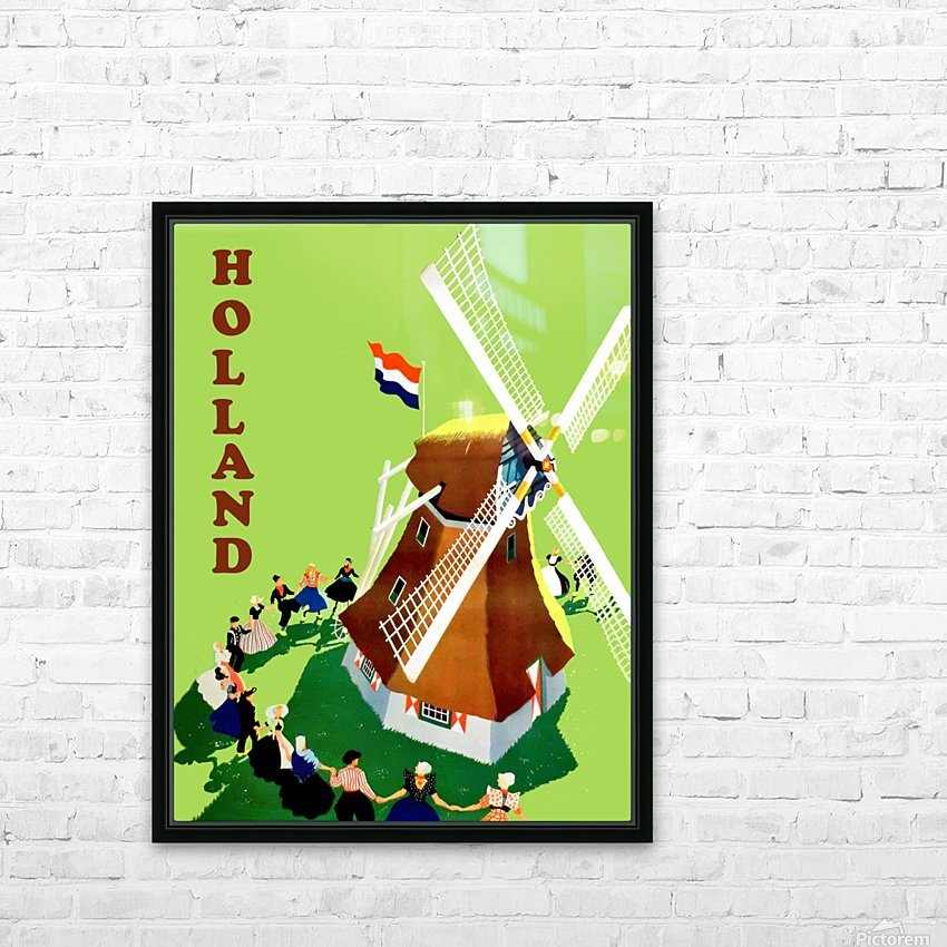 Holland Windmill HD Sublimation Metal print with Decorating Float Frame (BOX)