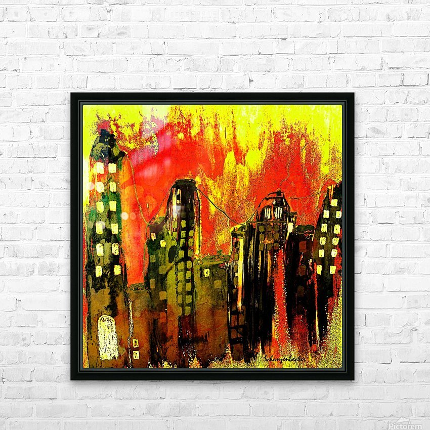 City on fire HD Sublimation Metal print with Decorating Float Frame (BOX)