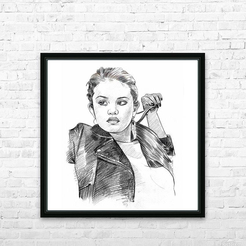 Selena Gomez - Celebrity Pencil Art HD Sublimation Metal print with Decorating Float Frame (BOX)