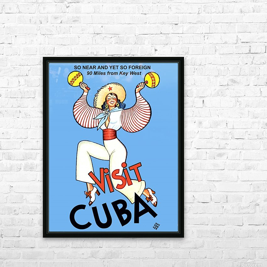 Visit Cuba HD Sublimation Metal print with Decorating Float Frame (BOX)
