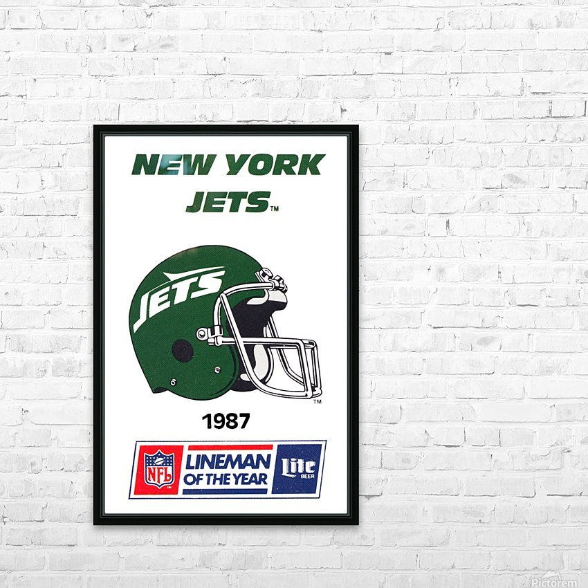 1987 New York Jets Helmet Art HD Sublimation Metal print with Decorating Float Frame (BOX)