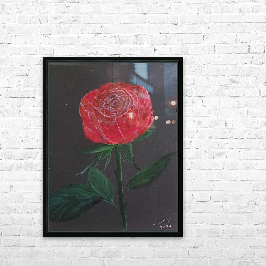 Single red rose HD Sublimation Metal print with Decorating Float Frame (BOX)