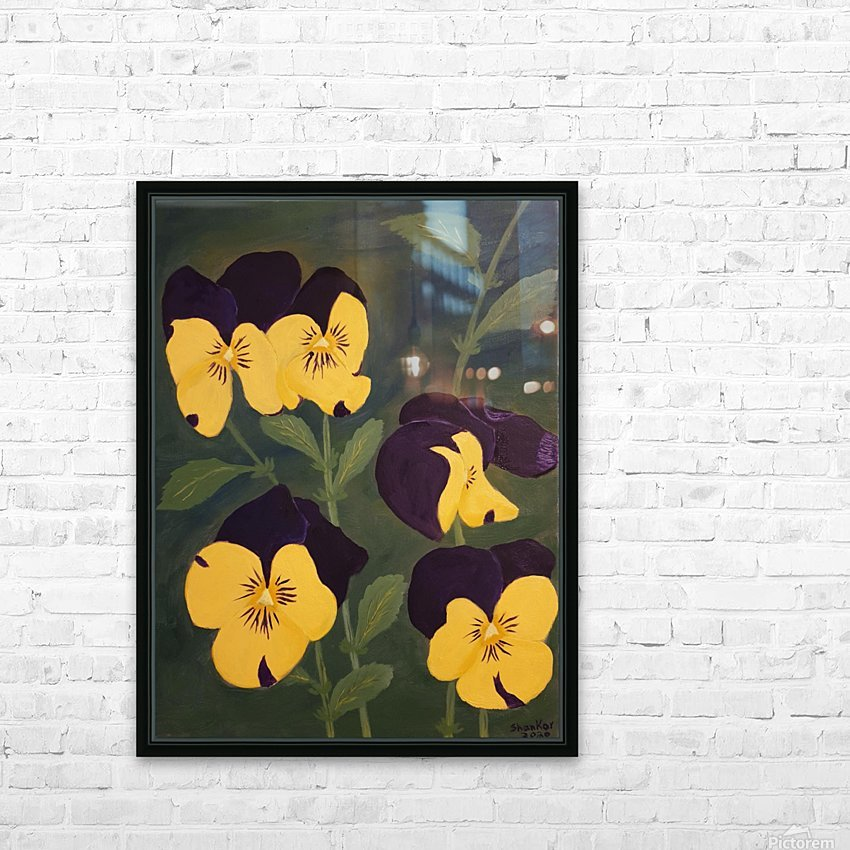 Yellow and purple pansies HD Sublimation Metal print with Decorating Float Frame (BOX)