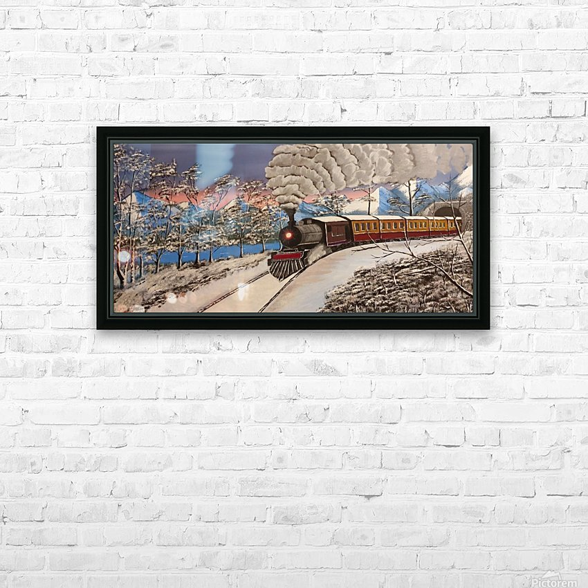 Ski Train HD Sublimation Metal print with Decorating Float Frame (BOX)