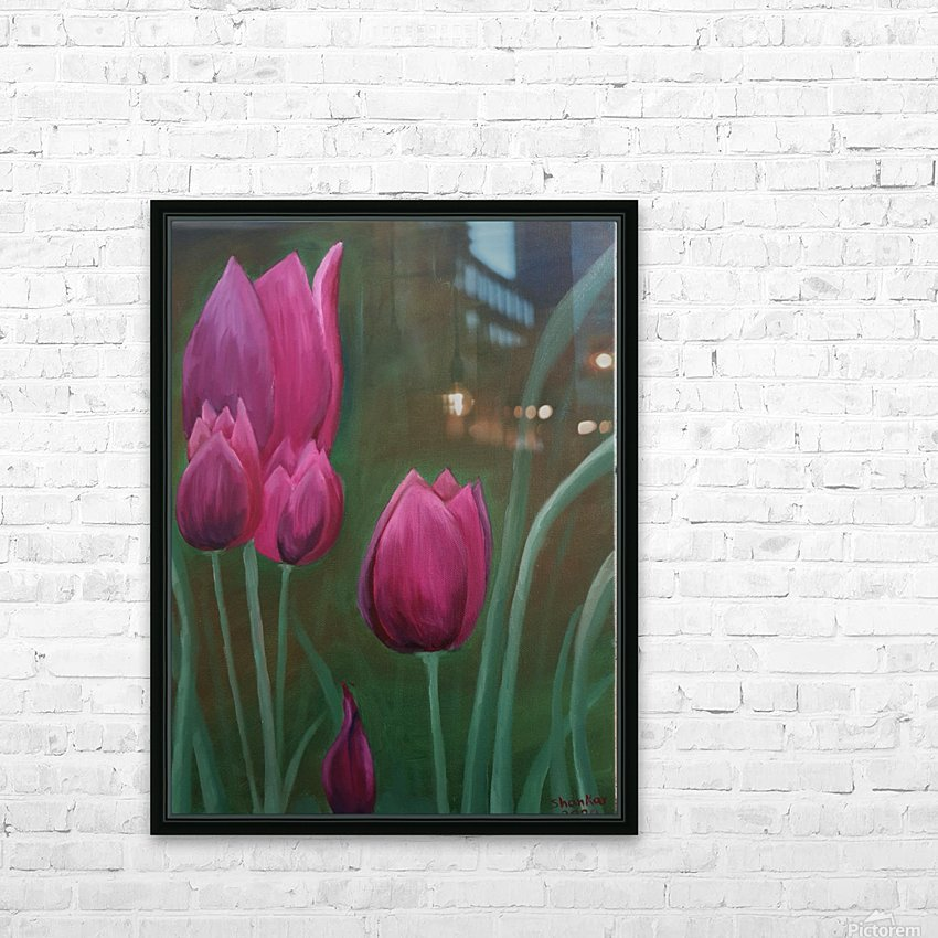Red Tulips HD Sublimation Metal print with Decorating Float Frame (BOX)