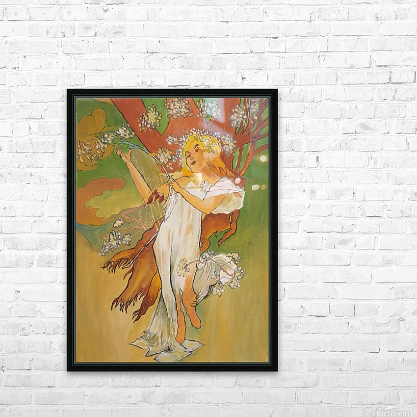Mucha Spring HD Sublimation Metal print with Decorating Float Frame (BOX)