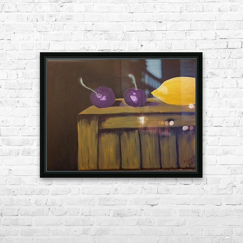 Lemon and Plums HD Sublimation Metal print with Decorating Float Frame (BOX)