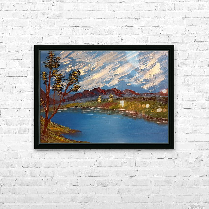 Mountain stream HD Sublimation Metal print with Decorating Float Frame (BOX)