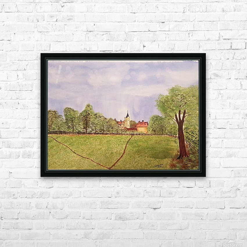 Village Green HD Sublimation Metal print with Decorating Float Frame (BOX)