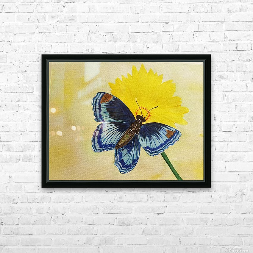 Blue Butterfly HD Sublimation Metal print with Decorating Float Frame (BOX)