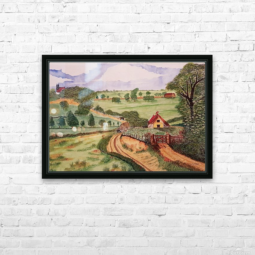 Village countryside HD Sublimation Metal print with Decorating Float Frame (BOX)