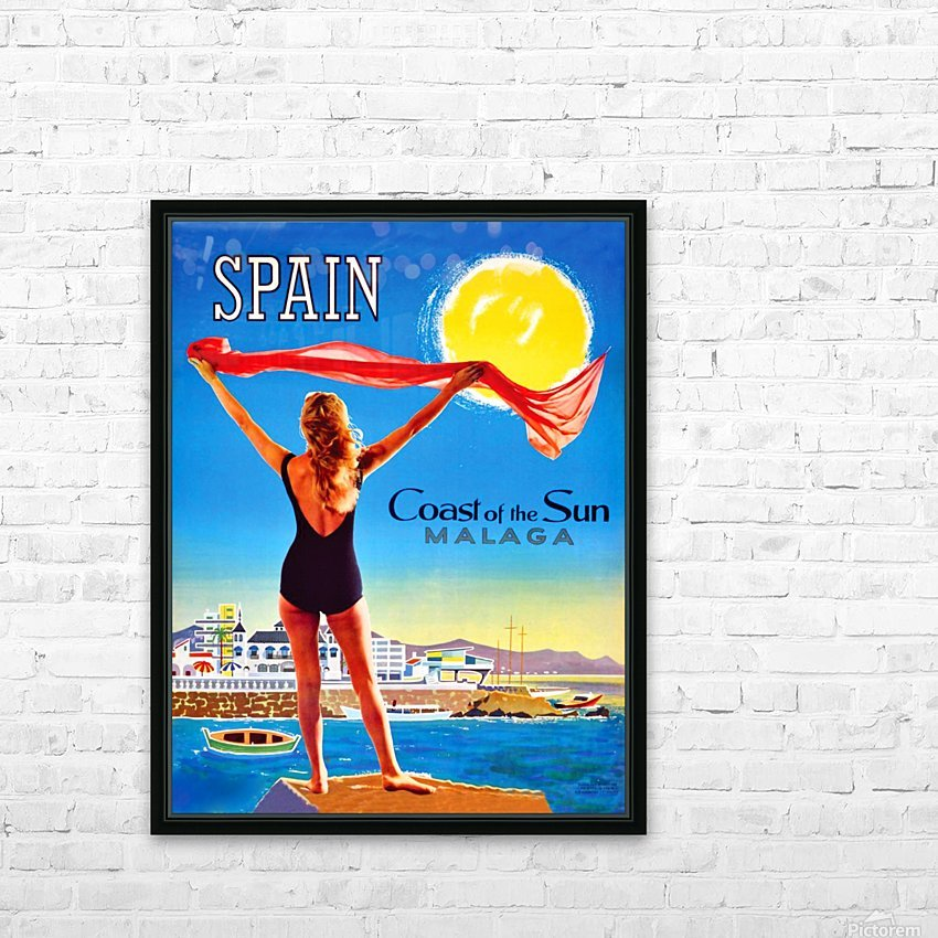 Girl on Malaga Beach HD Sublimation Metal print with Decorating Float Frame (BOX)