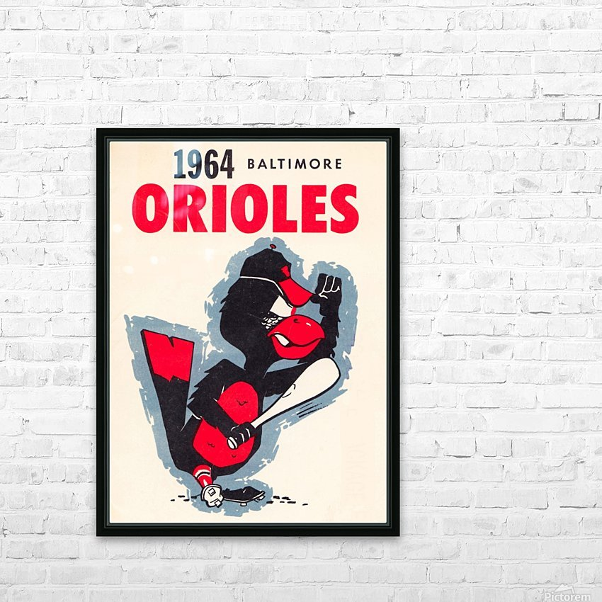 1964 baltimore orioles vintage baseball art poster HD Sublimation Metal print with Decorating Float Frame (BOX)