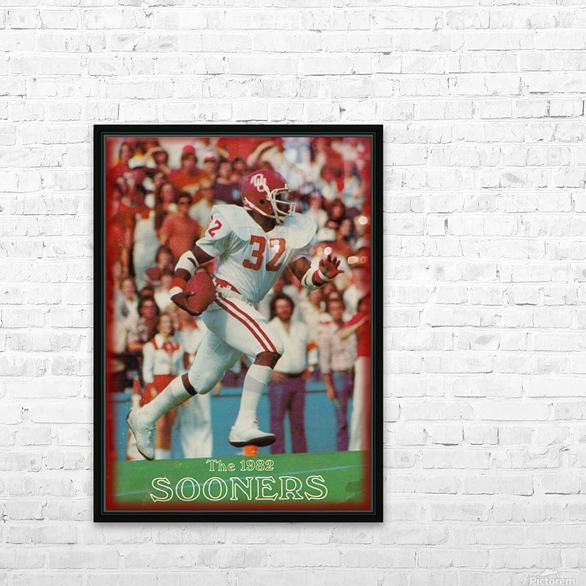 1982 oklahoma sooners retro college football poster HD Sublimation Metal print with Decorating Float Frame (BOX)