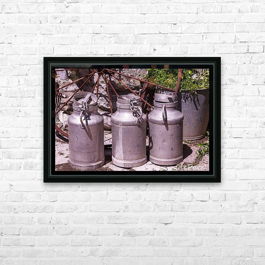 rustic milk cans HD Sublimation Metal print with Decorating Float Frame (BOX)