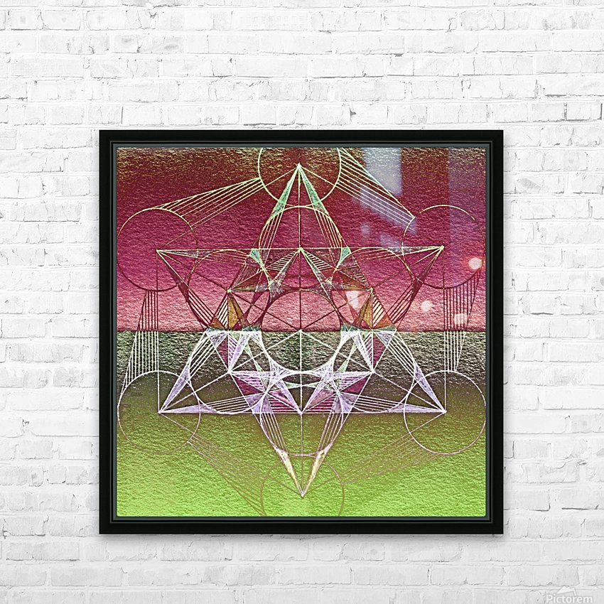 Cube of Metatron Red Green HD Sublimation Metal print with Decorating Float Frame (BOX)