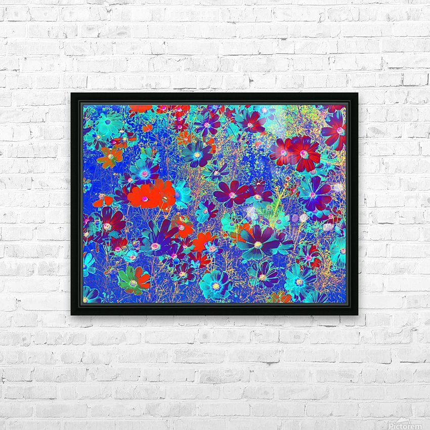 Cosmos Flowers Blue Red HD Sublimation Metal print with Decorating Float Frame (BOX)