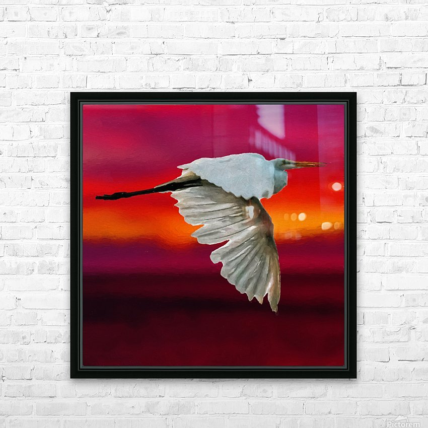Egret in sunset HD Sublimation Metal print with Decorating Float Frame (BOX)