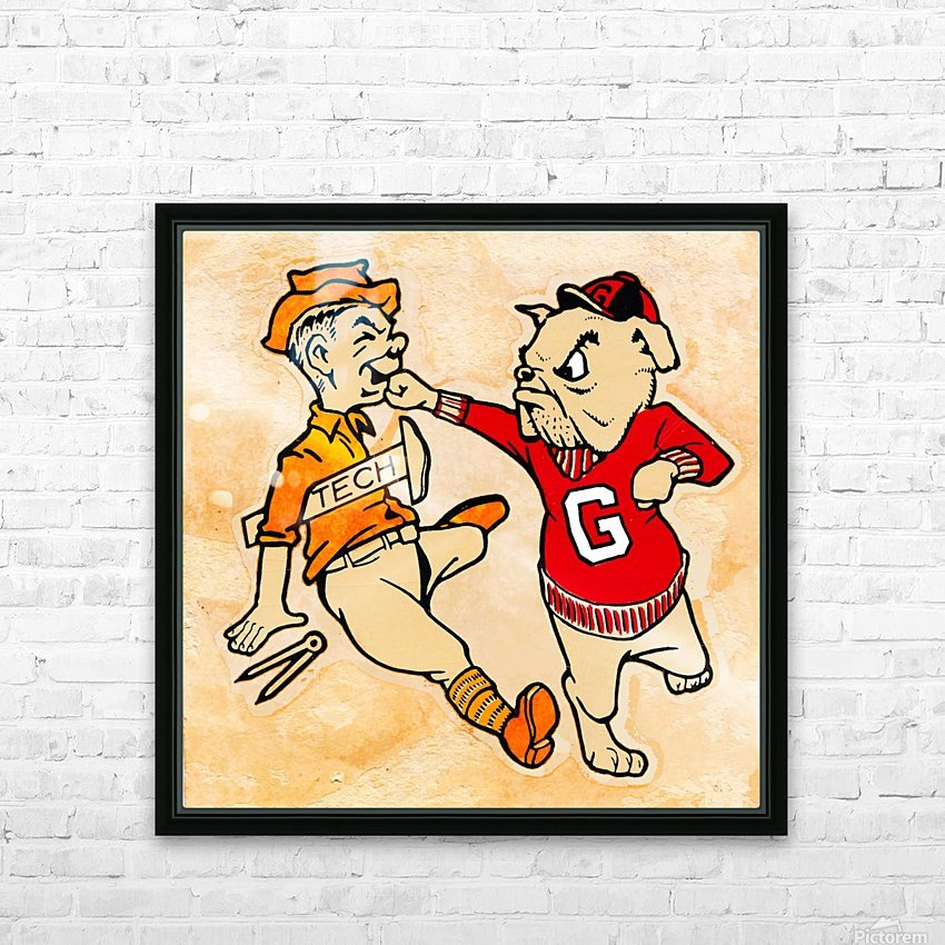 Vintage Georgia Bulldog Punching Tech Engineer College Canvas Print Wood HD Sublimation Metal print with Decorating Float Frame (BOX)