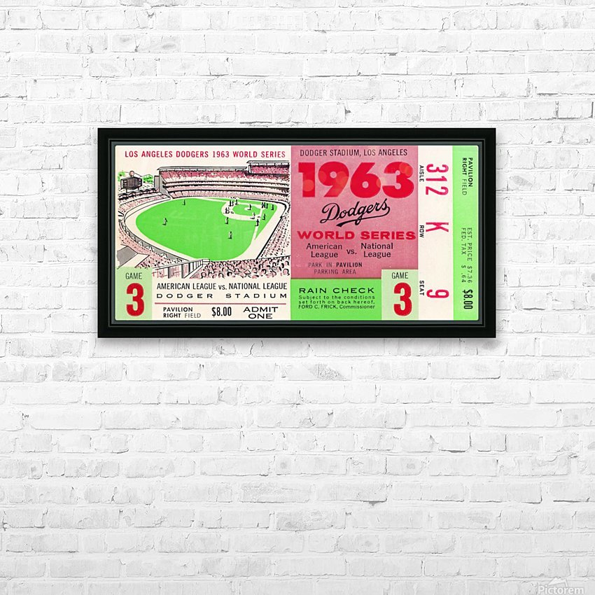 1963 world series ticket stub art la dodgers home decor HD Sublimation Metal print with Decorating Float Frame (BOX)