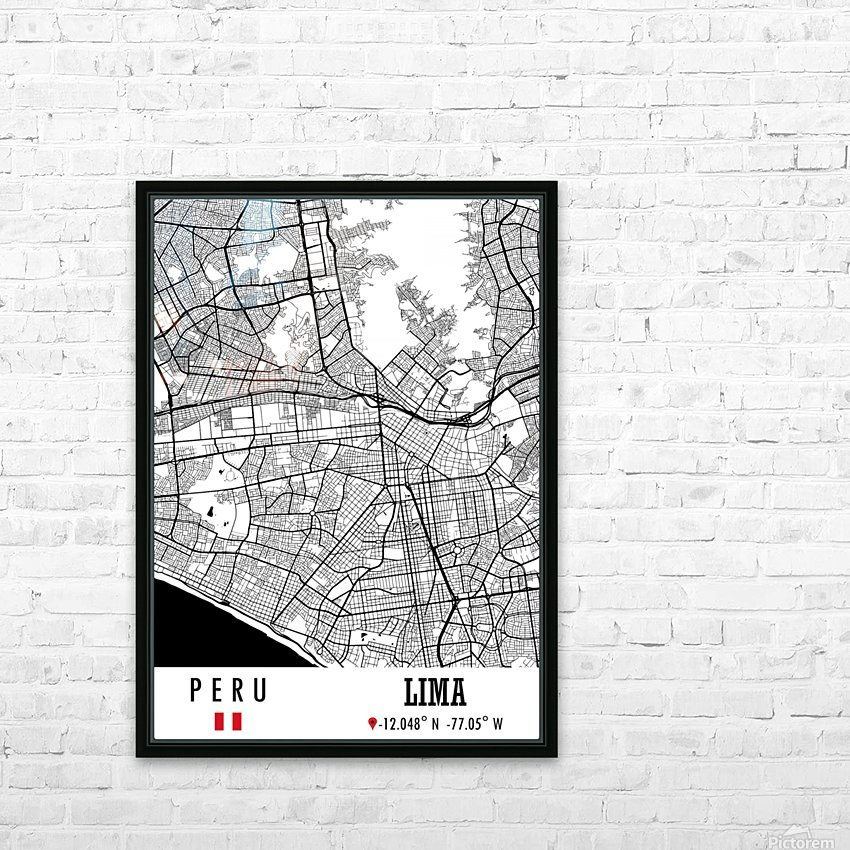 Lima PERU Map HD Sublimation Metal print with Decorating Float Frame (BOX)