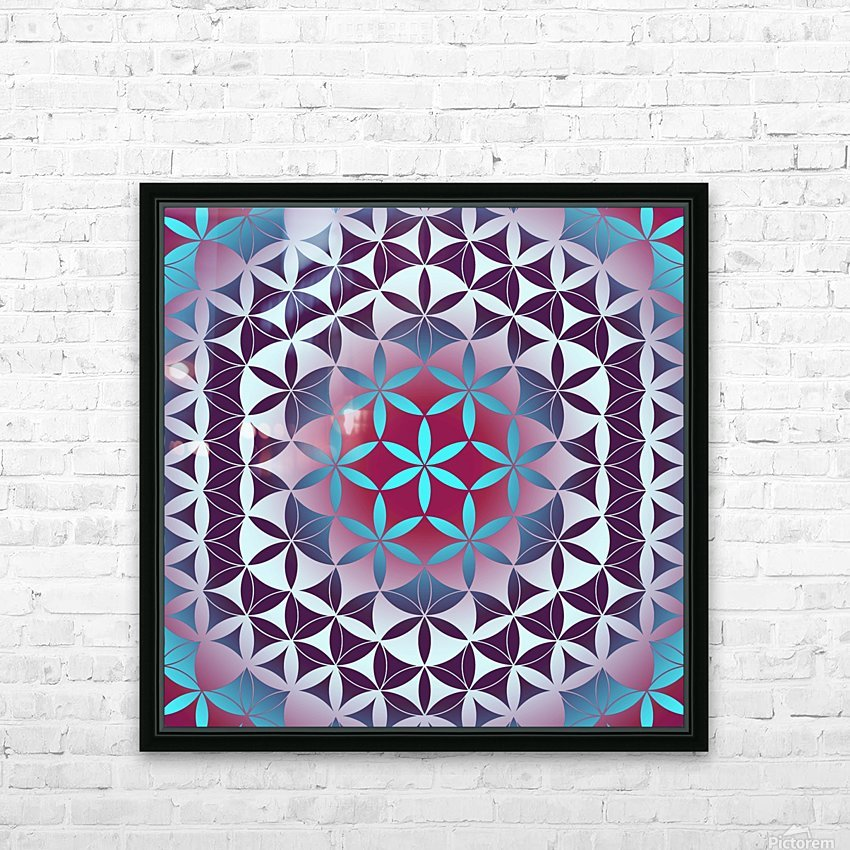Flower of Life Hexagon Pattern HD Sublimation Metal print with Decorating Float Frame (BOX)