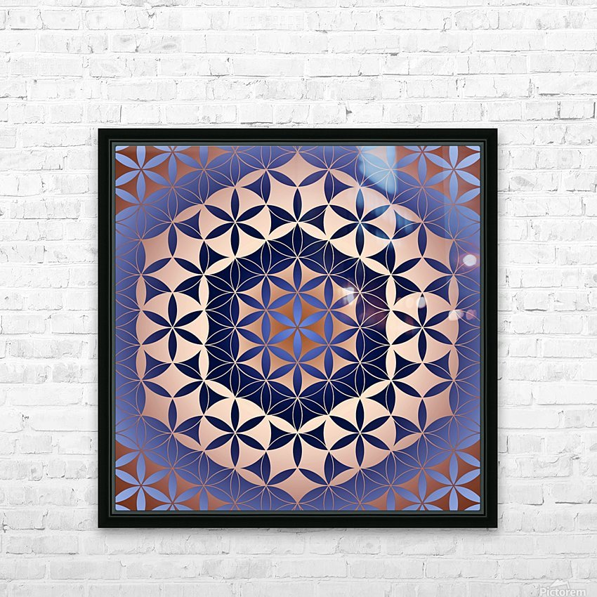 Flower of Life Mandala Pattern HD Sublimation Metal print with Decorating Float Frame (BOX)