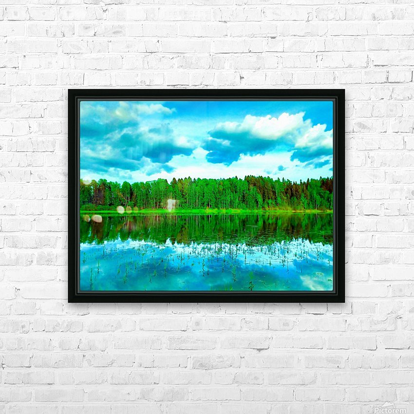 Forest beyond the lake HD Sublimation Metal print with Decorating Float Frame (BOX)