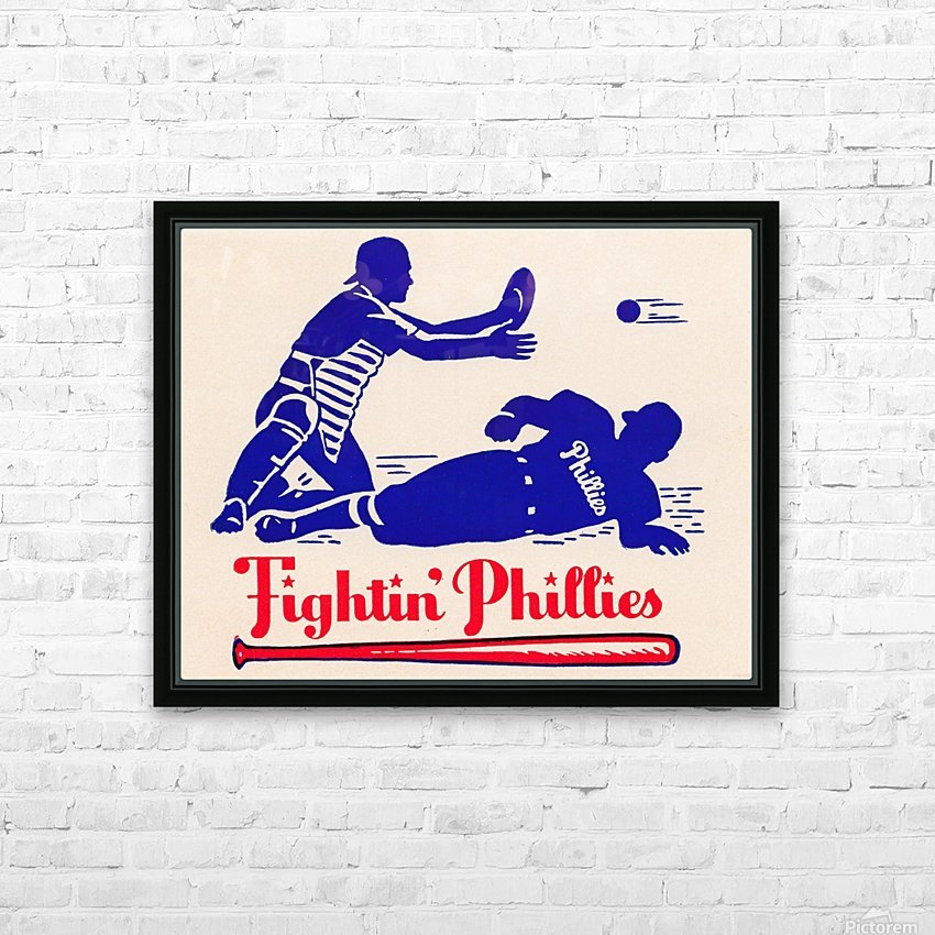 vintage fightin phillies baseball art HD Sublimation Metal print with Decorating Float Frame (BOX)