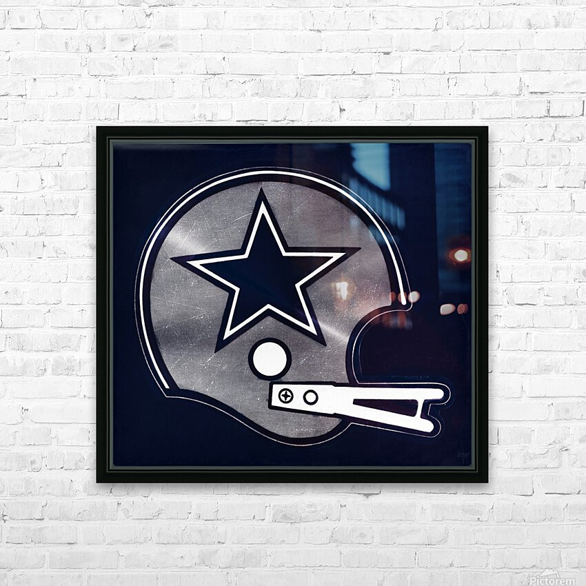 vintage dallas cowboys nfl helmet art HD Sublimation Metal print with Decorating Float Frame (BOX)