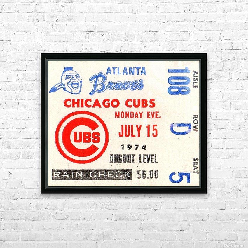 1974_Major League Baseball_Chicago Cubs vs. Atlanta Braves Ticket Stub Art HD Sublimation Metal print with Decorating Float Frame (BOX)