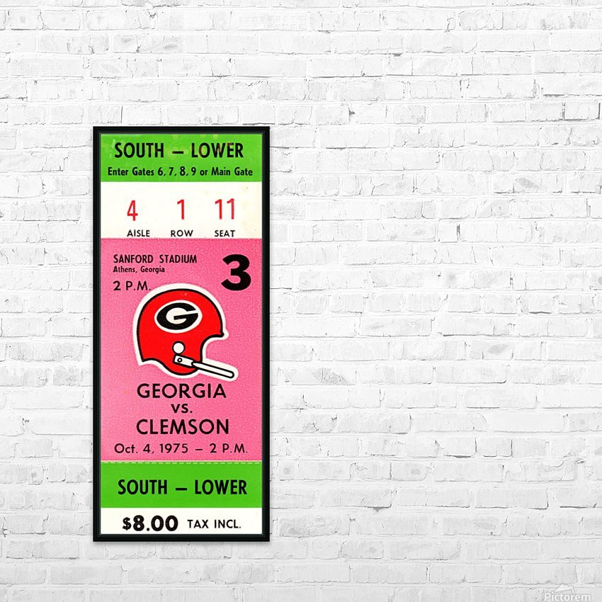 1975 college football clemson georgia bulldogs sanford stadium athens ticket stub canvas HD Sublimation Metal print with Decorating Float Frame (BOX)