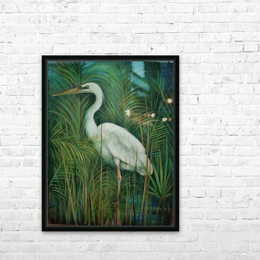 white heron 2 HD Sublimation Metal print with Decorating Float Frame (BOX)