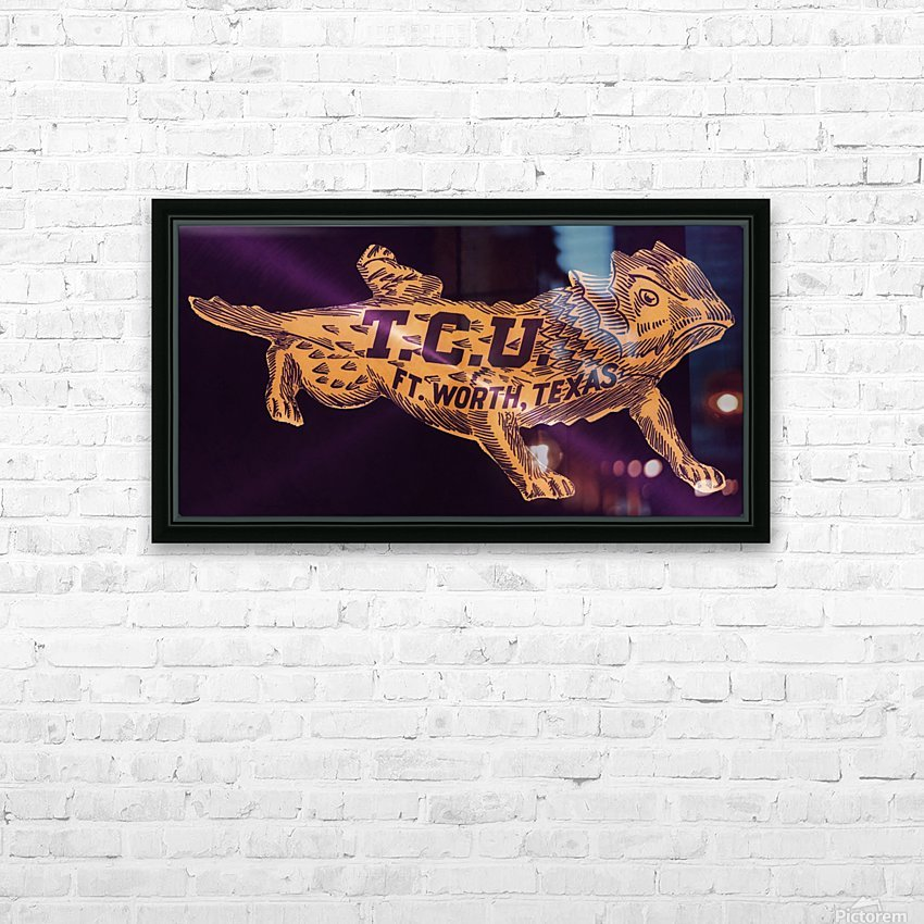 vintage college mascot art tcu horned frogs ft worth texas HD Sublimation Metal print with Decorating Float Frame (BOX)